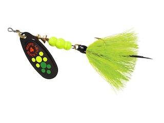 Mepps Aglia Black Fury Dressed Inline Spinner 1/3oz Chartreuse Tail Hot Firetiger Blade
