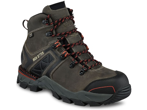 "Irish Setter Crosby 6"" Work Boots Leather/Nylon Gray Men's"