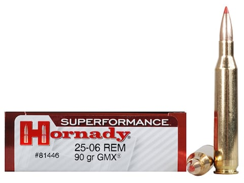 Hornady Superformance GMX Ammunition 25-06 Remington 90 Grain GMX Boat Tail Lead-Free B...