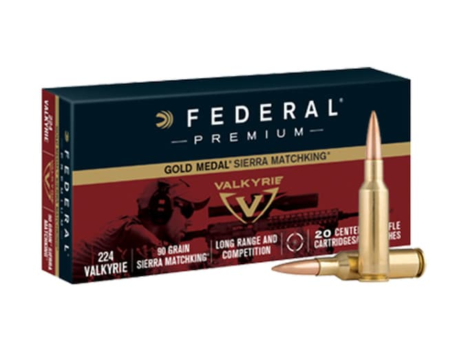 Federal Premium Gold Medal Ammunition 224 Valkyrie 90 Grain Sierra MatchKing Hollow Point Boat Tail