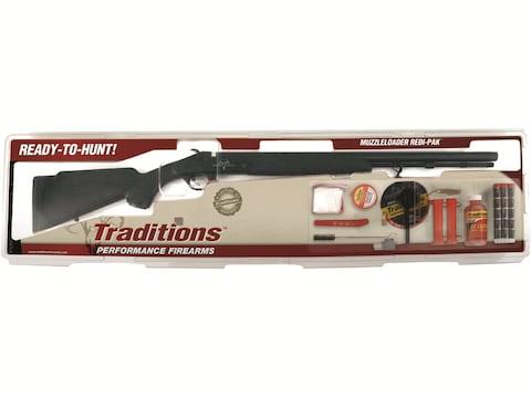 "Traditions Buckstalker Redi-Pak Muzzleloading Rifle 50 Caliber 24"" Blued Barrel Synthet..."