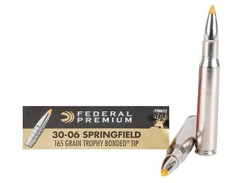 Federal Premium Ammunition 30-06 Springfield 165 Grain Trophy Bonded Tip Box of 20