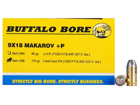 Buffalo Bore Ammunition 9x18mm (9mm Makarov) 115 Grain Hard Cast Lead Flat Nose Box of 20