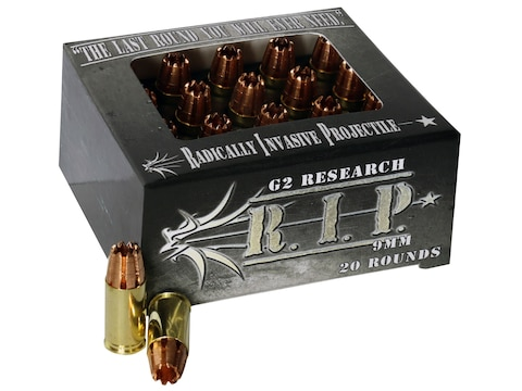 G2 Research R.I.P. Ammunition 9mm Luger 92 Grain Radically Invasive Projectile Fragment...
