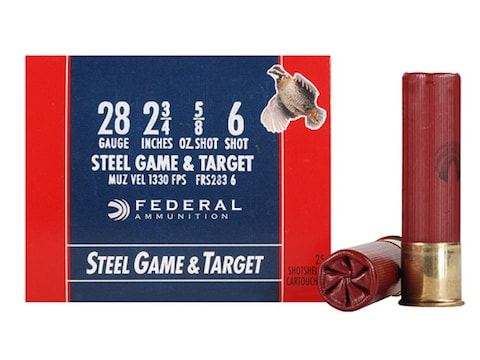 "Federal Game & Target Ammunition 28 Gauge 2-3/4"" 5/8 oz Non-Toxic Steel Shot"