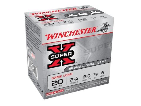 """Winchester Super-X Game Load Ammunition 20 Gauge 2-3/4"""" 7/8 oz #6 Shot"""