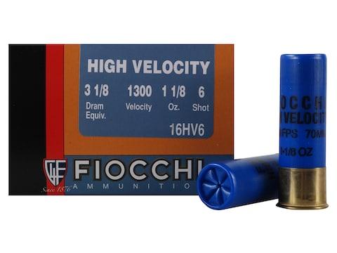 "Fiocchi High Velocity Ammunition 16 Gauge 2-3/4"" 1-1/8 oz #6 Chilled Lead Shot Box of 25"