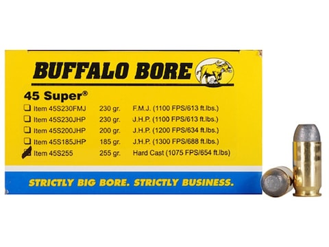 Buffalo Bore Ammunition 45 Super 255 Grain Hard Cast Lead Flat Nose Box of 50