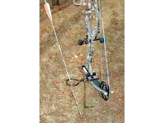 HME Archer's Ground Stake Bow Holder with Arrow Ring Steel Green