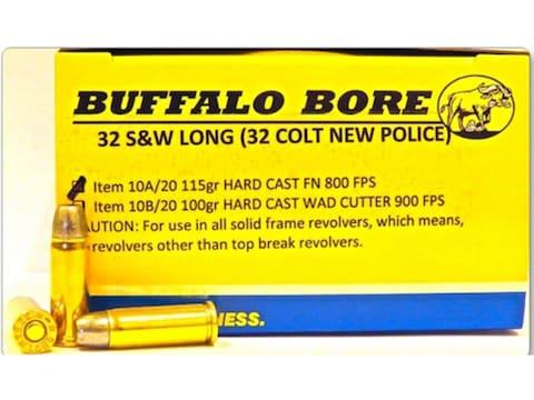 Buffalo Bore Ammunition 32 S&W Long 115 Grain Hard Cast Flat Nose Box of 20