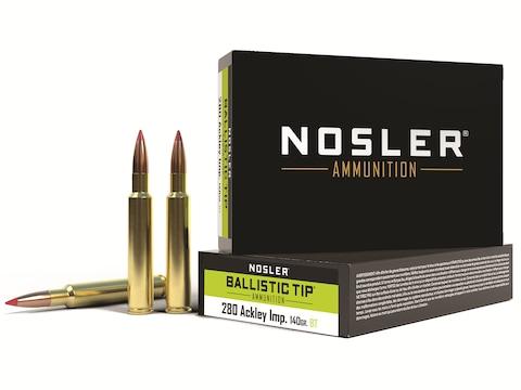 Nosler BT Ammunition 280 Ackley Improved 140 Grain Ballistic Tip Box of 20