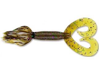 """Yamamoto 5"""" Double Tail Hula Grub #297/Lg Grn Purple"""