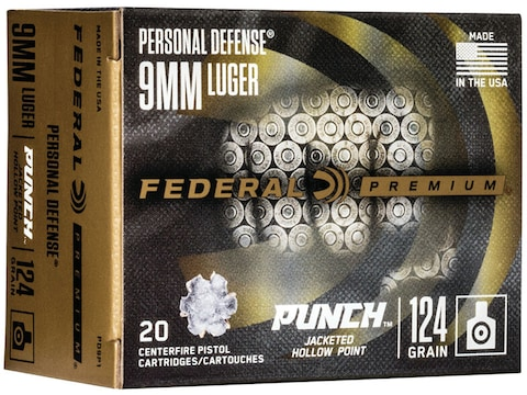 Federal Premium Personal Defense Punch Ammunition 9mm Luger 124 Grain Jacketed Hollow P...