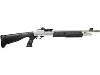 "Iver Johnson Shotgun 12 Gauge 18"" Muzzle Brake Barrel 4-Round, Satin Nickel, Synthetic Pistol grip Black Stock, Picatinny Rail"