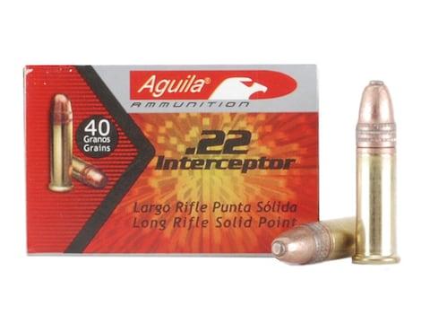 Aguila Interceptor Ammunition 22 Long Rifle 40 Grain Plated Lead Round Nose