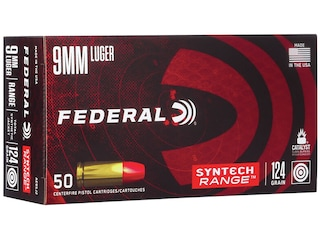 Federal Syntech Range Ammunition 9mm Luger 124 Grain Total Synthetic Jacket Box of 50