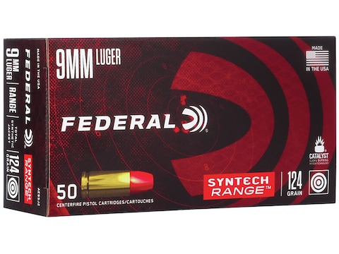 Federal Syntech Range Ammunition 9mm Luger 124 Grain Total Synthetic Jacket