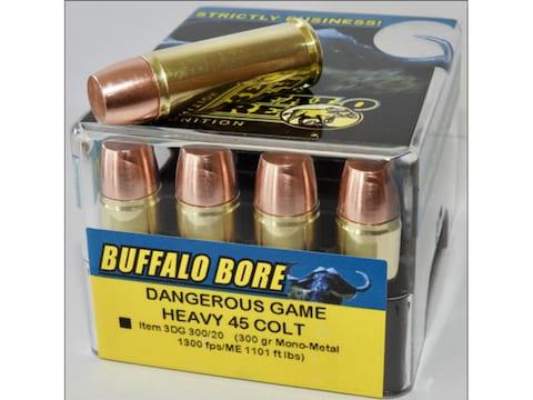 Buffalo Bore Dangerous Game Ammunition 45 Colt (Long Colt) +P 300 Grain Lehigh Mono-Met...