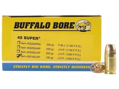 Buffalo Bore Ammunition 45 Super 185 Grain Jacketed Hollow Point Box of 50