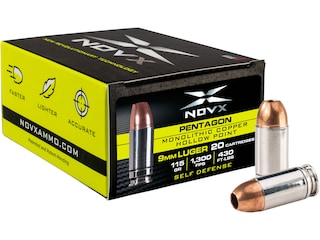 NovX Pentagon Self Defense Ammunition 9mm Luger 115 Grain Copper Hollow Point Lead Free Case of 200 (10 Boxes of 20)