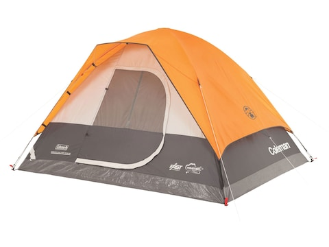 """Coleman Moraine Park Fast Pitch 4 Person Dome Tent 108"""" x 84"""" x 59"""" Polyester Orange an..."""