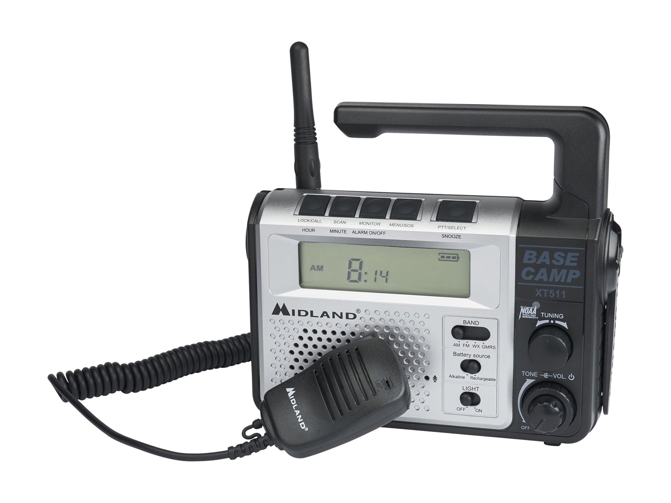 Midland XT511 Base Camp Radio NOAA Weather 22 Channel Silver Black