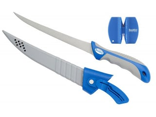 """Smith's Fillet Knife 4"""" 3CR14 Stainless Steel Blade Polymer Handle Gray/Blue with Sharpener"""