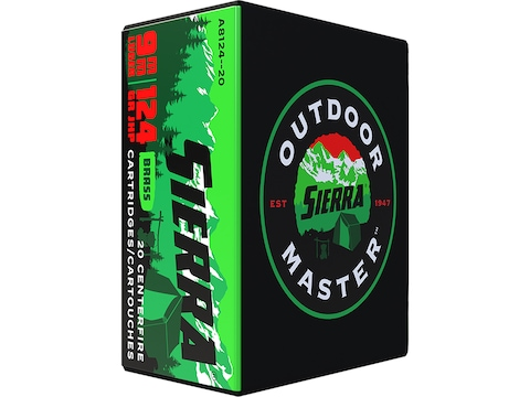 Sierra Outdoor Master Ammunition 9mm Luger 124 Grain Jacketed Hollow Point Box of 20