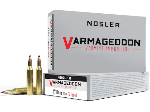 Nosler Varmageddon Ammunition 17 Remington 20 Grain Polymer Tip Flat Base Box of 20