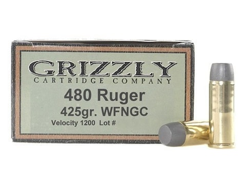 Grizzly Ammunition 480 Ruger 425 Grain Cast Performance Lead Wide Flat Nose Gas Check B...