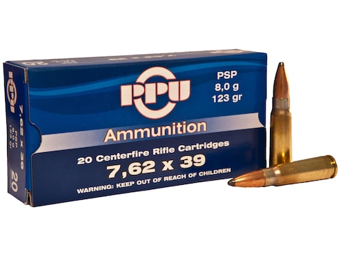 Prvi Partizan Ammunition 7.62x39mm 123 Grain Pointed Soft Point Boat Tail Box of 20