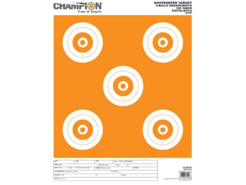 Champion ShotKeeper 5 Large Bullseye Target Paper Package of 12