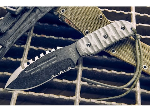 """TOPS Knives Stryker Defender Tool Fixed Blade Knife 4.75"""" Modified Spear Point 1095 Hig..."""