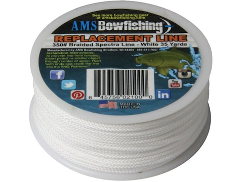 AMS Braided Spectra Bowfishing Line 350 lb 35 Yard Spool White