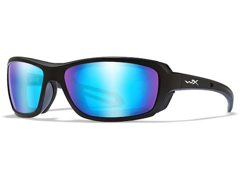 Wiley X WX Wave Polarized Sunglasses Gloss Black Frame/Captivate Blue Mirror Lens