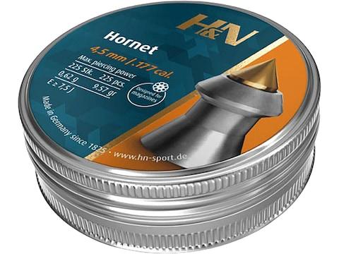 H&N Hornet Pellets 177 Caliber 10.3 Grain 4.5mm Head-Size Pointed Tin of 225