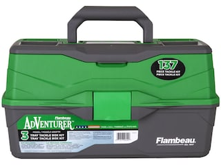Flambeau Adventurer 3-Tray Tackle Box with 137-Piece Tackle Kit Green/Gray