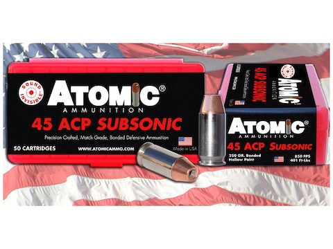 Atomic Ammunition 45 ACP Subsonic 250 Grain Bonded Match Hollow Point Box of 50