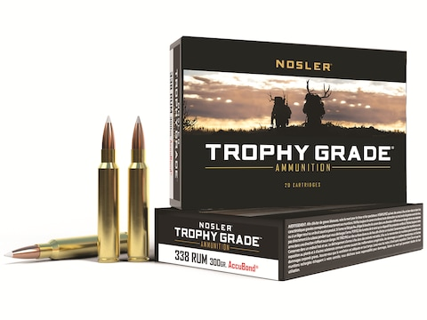 Nosler Trophy Grade Ammunition 338 Remington Ultra Magnum 300 Grain AccuBond Box of 20