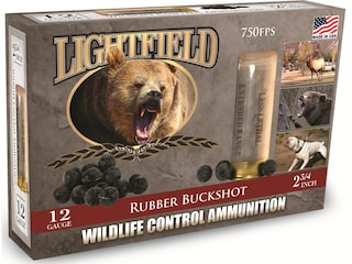 "Lightfield Wildlife Control Less Lethal Ammunition 12 Gauge 2-3/4"" Rubber Buckshot 21 Pellets Box of 5"