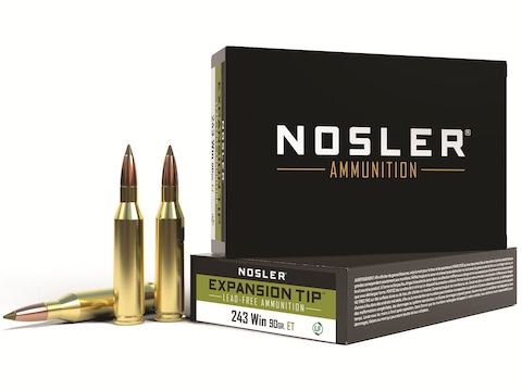 Nosler E-Tip Ammunition 243 Winchester 90 Grain E-Tip Lead-Free Box of 20