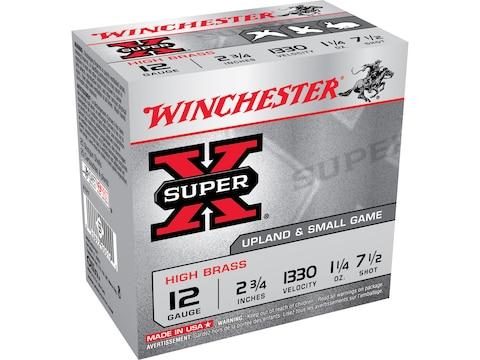 """Winchester Super-X High Brass Ammunition 12 Gauge 2-3/4"""" 1-1/4 oz #7-1/2 Shot Box of 25"""