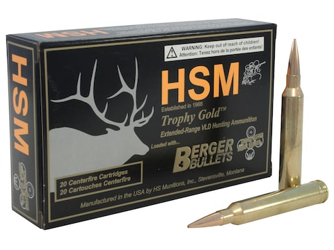 HSM Trophy Gold Ammunition 7mm STW 168 Grain Berger Hunting VLD Hollow Point Boat Tail ...