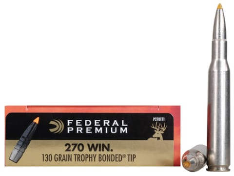 Federal Premium Ammunition 270 Winchester 130 Grain Trophy Bonded Tip Box of 20