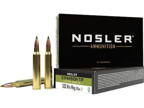 Nosler E-Tip Ammunition 300 Winchester Magnum 180 Grain E-Tip Lead-Free Box of 20