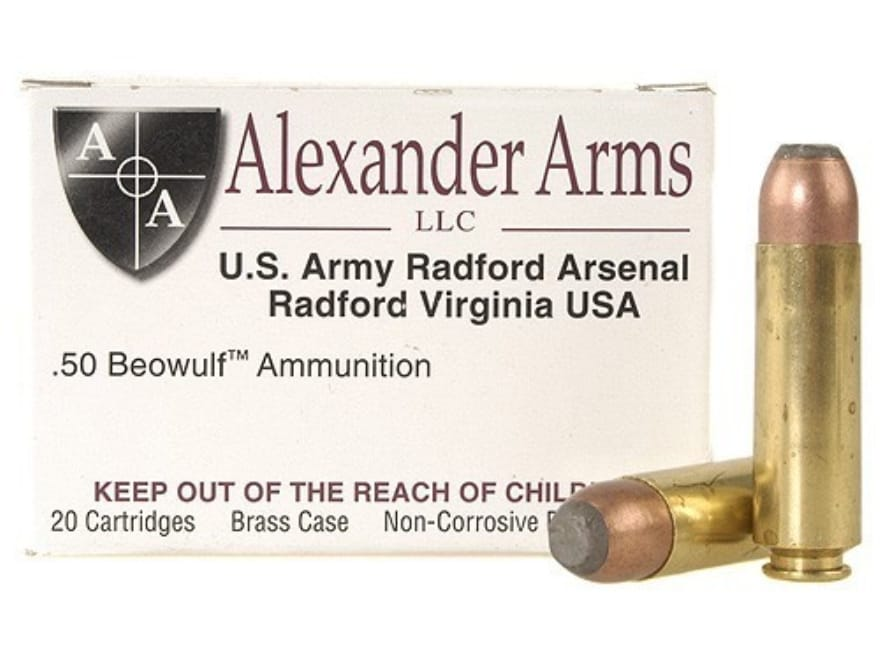 Alexander Arms Ammo 50 Beowulf 400 Grain Hawk Jacketed Flat Point Box