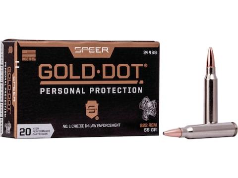 Speer Gold Dot Ammunition 223 Remington 55 Grain Gold Dot Bonded Soft Point Box of 20