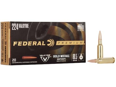 Federal Premium Gold Medal Berger Ammunition 224 Valkyrie 80.5 Grain Berger Open Tip Match