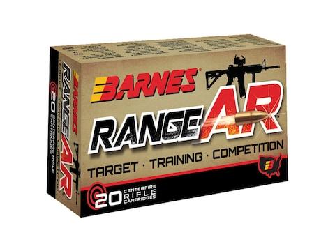 Barnes RangeAR Ammunition 5.56x45mm NATO 52 Grain Open Tip Flat Base Lead-Free Box of 20