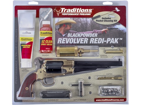 "Traditions 1858 Army Redi-Pak Black Powder Revolver 44 Caliber 8"" Blued Barrel Brass Fr..."